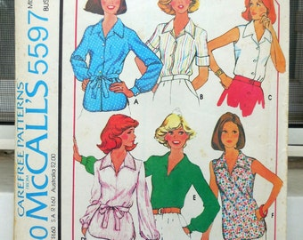 McCall's 5597 - Easy 70s Blouses - Tops, Shirts, Button-Down, Office, Boho - Sizes 12 and 14 (Bust 34 & 36) - UNCUT - Cute Retro Pattern
