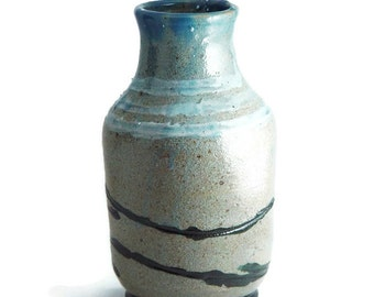 """Rustic 6 Inch Tall Vase, Blue with Black and White accents, """"Happy Trails"""", Wheel Thrown stoneware pottery ceramic"""