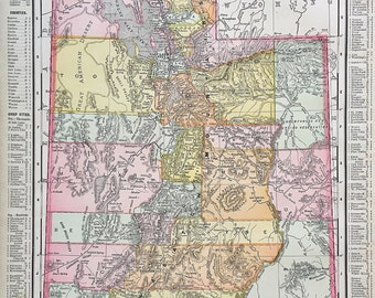 Antique Utah Map, Original 1899 Atlas Page, Rand McNally, Wyoming Map on Reverse, Map of Utah