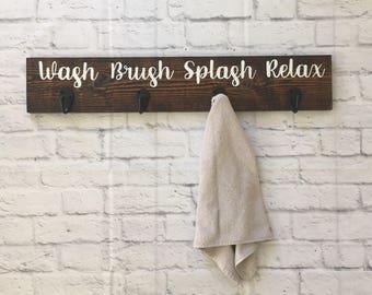 Towel rack with hooks Bathroom decor sign Wooden towel hanger Wood wall art Beach decor Home decor Nautical style Rustic bath organizer