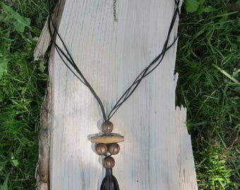 Necklace with brown color wood beads and black genuine leather tassels  / leather necklace / leather pendant / Tassel Necklace