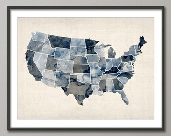 Watercolor United States Map USA, Art Print (528)