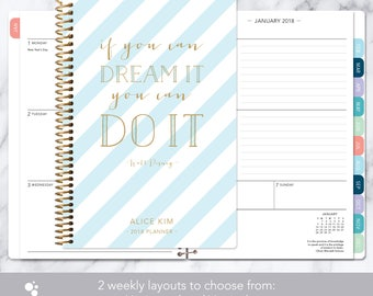 2018 planner calendar choose start month | add monthly tabs weekly student planner personalized agenda daytimer | blue gold stripes quote