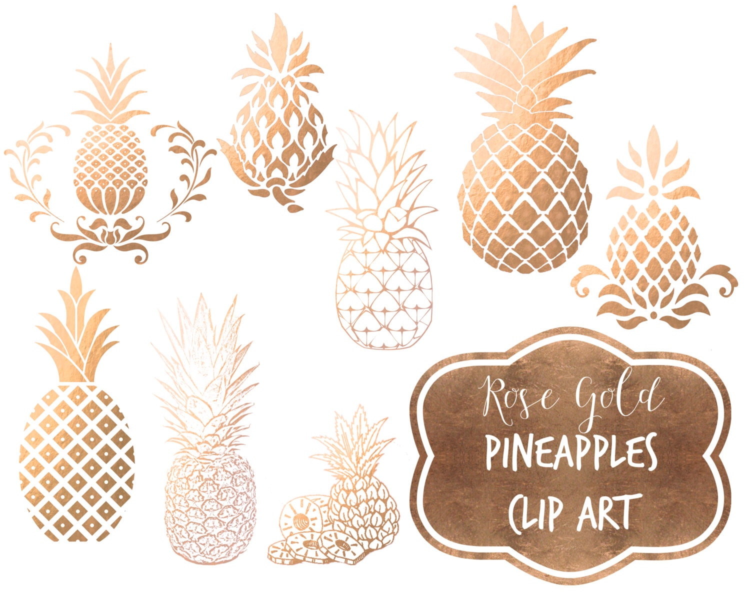 Rose Gold Pineapple Clipart Foil Pineapples Digital Clip Art Faux Metallic From SouthPacific
