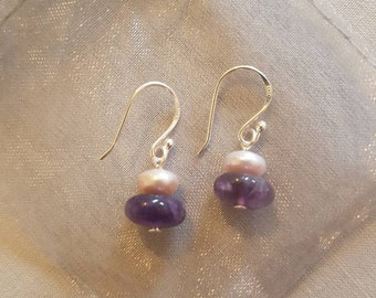 Pink Button Pearl and Amethyst Sterling Silver Drop Earrings