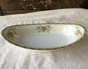 Noritake / Nippon Toki / 1930's / Oval Butter Dish / Shabby Chic Appeal