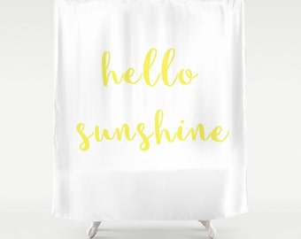 Superior Shower Curtain   Hello Sunshine   Hello Sunshine Shower Curtain   Yellow Shower  Curtain   Teen