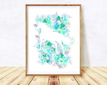 Unicorn Printable, Unicorn Poster, Unicorn Theme, Diy Nursery Art, Unicorn Print, Printable Poster, Printable Wall Art, Digital Download