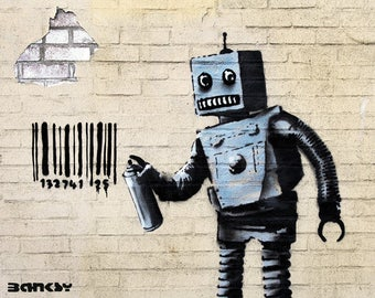 BANKSY PRINT   New York Coney Island Robot Premium on Archival paper 310mg Prints Street Art Graffiti Various Sizes