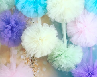 Pom Poms Big Tulle Pom Poms Cake Smash Props Nursery Decorations Birthday Party Decorations Wedding Decorations Christmas Decorations
