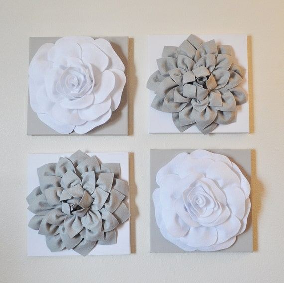 Wall Decor SET OF FOUR Gray and White Flower Wall Hangings 12