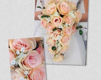 "New Artificial Rose Gold Wedding Teardrop Bouquet, 15"" in length. Baby's Breath and Blush Pink Rose Bridal Bouquet"