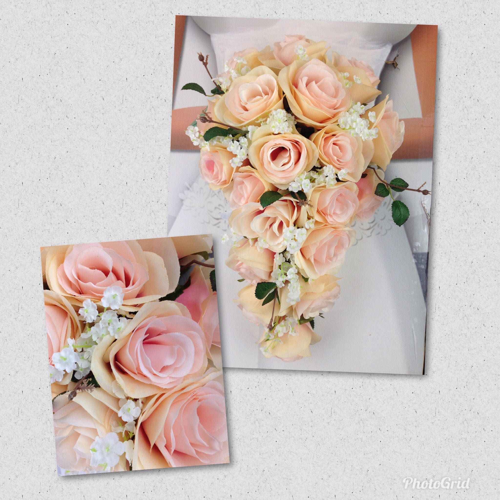 New Artificial Rose Gold Wedding Teardrop Bouquet, 15 in length ...