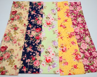"Quilt Five Fat Quarters 18x22"" Vintage Retro English Floral Rose in Multi-Colored"