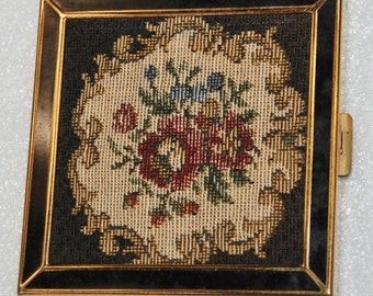 Volupte', Petit Point Compact,  Antique, Brass, 20's-30's  Free Shipping!