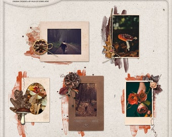 Editable PSD Template, Picture Frame Set, Fall Themed, Photographer Gift, Layered Templates For Photoshop, Photo Mask, Instant Download