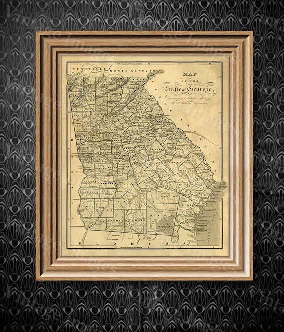 Georgia map Antique map of Georgia Antique Restoration decorator Style Map of Georgia Large Old Georgia Wall Map Home Decor Office wall art