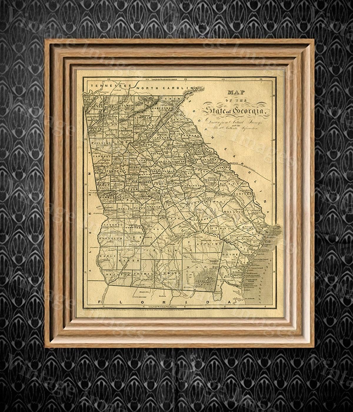 Georgia map Antique map of Georgia Antique Restoration decorator ...