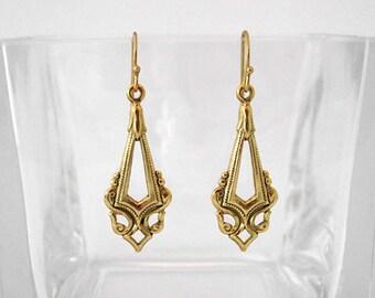 Victorian Gold Diamond Dangle Earrings