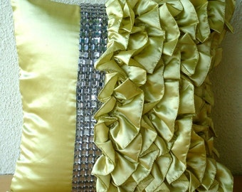 Diamonds N Ruffles -  Pillow Sham Covers - 24x24 Inches Satin Pillow cover with Ruffles and Crystals