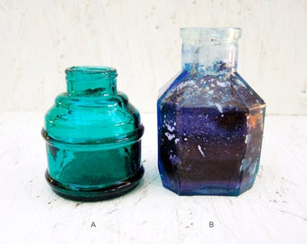 Antique glass bottle - Antique glass inkwell - Clear green blue glass inkwell - b21