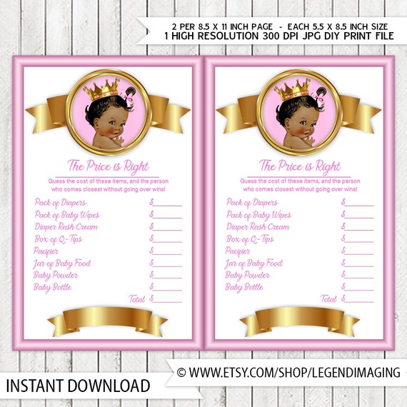 Ethnic Princess Price Is Right Baby Shower Game Pink Gold