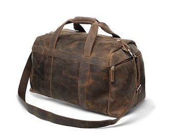 Handmade Buffalo Leather Gym Bag / Sports Bag / Duffel / Weekender / Traveling Bag