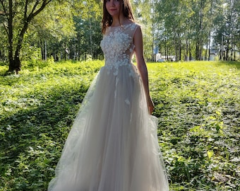 Vintage Inspired,Wedding Dress,Lace Corset,Illusion Lace Neckline,Back with Buttons,Chiffon Skirt,3D French lace,Light-As-Air, Handmade,