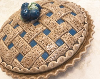 Ceramic BlueBerry Pie Plate Pie Dome In Vintage Kitchen Decor Retro Kitchen Cooking Blueberry Pie Designs & Covered pie plate   Etsy