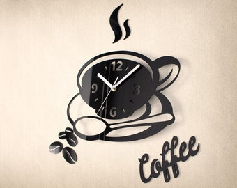 Kitchen Coffee Clock V2 - Modern Wall Clock