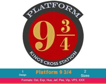 Platform 9 3/4's Design,  Harry Potter Machine Embroidery Design, Hogwarts, Ravenclaw, Hufflepuff, Gryffindor, Slytherin, Instant Download