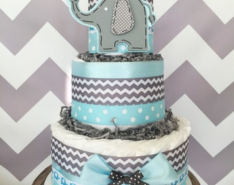 Chevron Elephant Centerpiece in Blue and Gray, Elephant Diaper Cake for Boys
