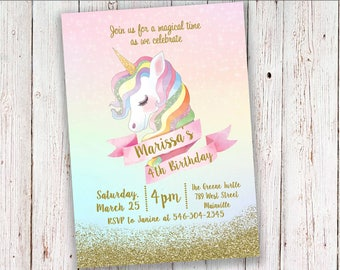 Unicorn Birthday Party Invitation, Rainbow, Glitter, Sparkle, Gold,  Magical - Digital or Printed