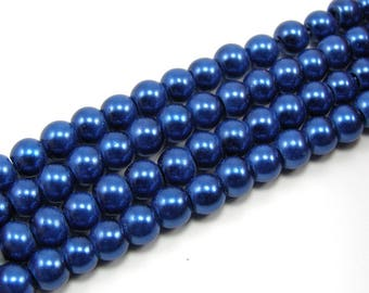 Set of 25 6 mm dark blue color Pearl glass beads