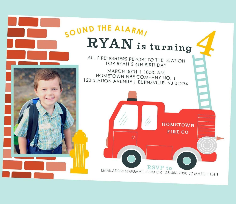 Fire Truck Birthday Invitation Fire Truck Invite Fireman