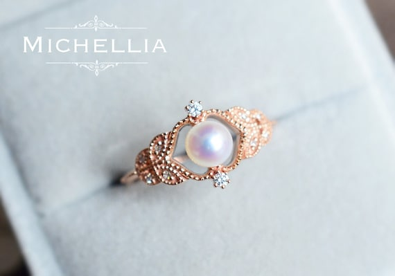 pearl h vintage ring diamond rings