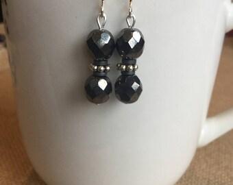 Black beaded earrings, hematite earrings, earrings, black crystal earrings, wedding earrings, bridesmaid earrings, Handmade jewelry, h