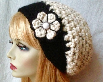 Oatmeal Crochet Beret Womens Hat, Slouchy, Wool, Holidays Christmas gifts under 50 JE808SBTF1