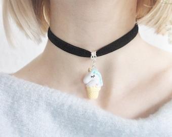 Blue Unicorn Choker Necklace