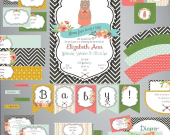 Momma Bear Baby Shower Set-DIY Printable-Instant Download-Editable-Print At Home-Party Supplies