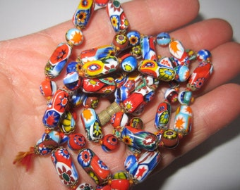 Vintage 1970s Murano Italian Colorful Glass Beaded Necklace for repair