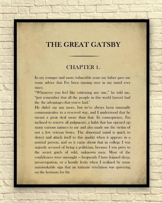 Classic Book Page F. Scott Fitzgerald The Great Gatsby