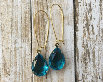 Teal Vintage Inspired Drop Earrings