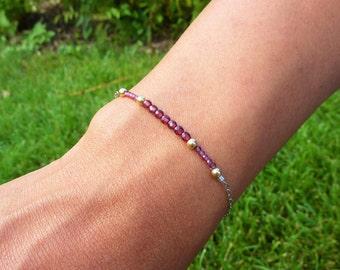 Bracelet Grenat rouge - Argent 925, Or jaune (gold filled 14k*), chaine fine, pierres fines naturelles, semi précieuses, bijou artisanal