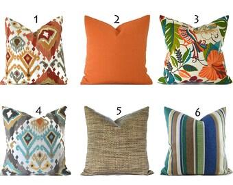 Outdoor Pillows Decorative Pillows Outdoor Pillow Covers ANY SIZE Pillow Cover Orange Pillows Blue Pillows You Choose