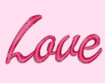 Love text Valentine Machine Embroidery Design File pattern