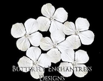 White Hair Flowers, Bridal Hair Accessories, Rustic Wedding Hairpins - 6 White Hydrangea Hair Pins - Clear Rhinestone Centers