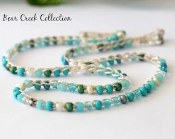 Seed Bead Necklace / Tropical Seas / Turquoise, Green, Cream, Crochet Beaded Choker, Bohemian, Beach, Summer Jewelry, Crochet Jewelry