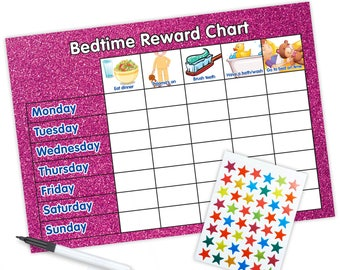 Re-usable Bedtime Reward Chart (including FREE Stickers and Pen) - Pink Glitter Design