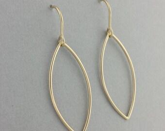 14k Gold Earrings, Leaf Earrings, Gold Leaf Earrings, Solid Gold Earrings, Minimalist Earrings, Solid 14k Gold, 14k Earrings